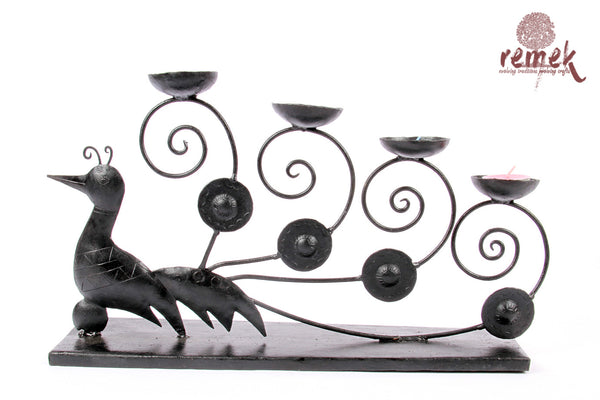 "Bastar Wrought Iron Tea Light Holder - Magnificent ""Mayura"""