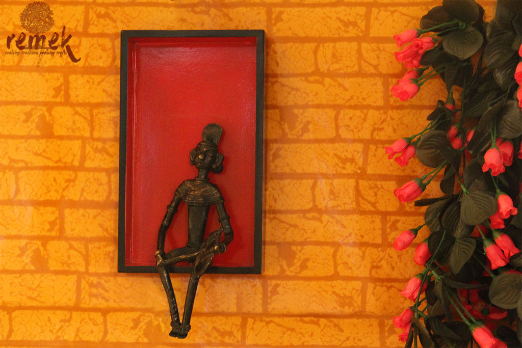 "Dhokra Wall Hanging - Folk Musician Playing ""Dafli"""