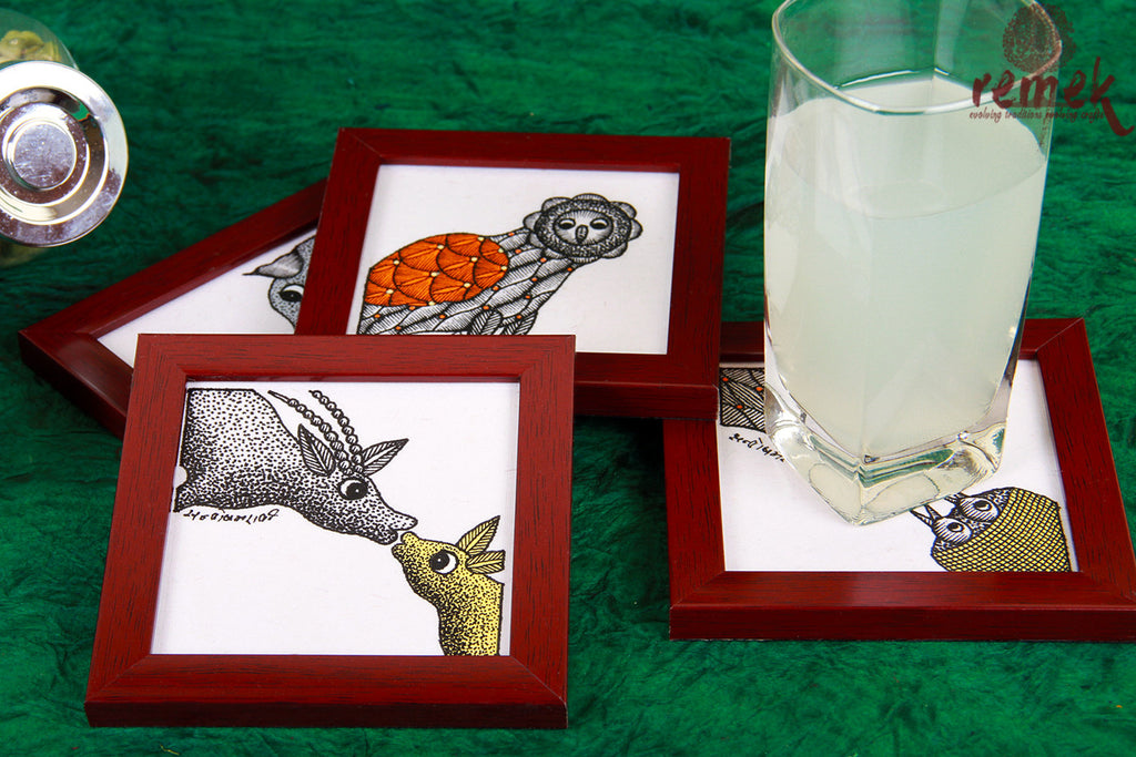 Hand-painted Gond Art Coasters - Expression of love