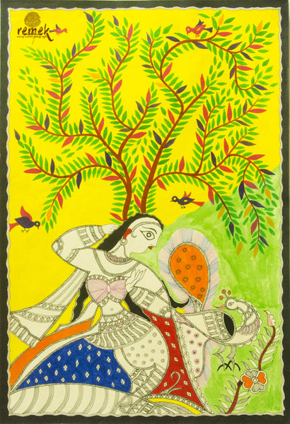 Madhubani Painting - Prepossessing Nayika