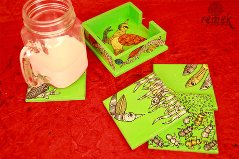Hand-painted Gond Art Coasters - Natural Habitat