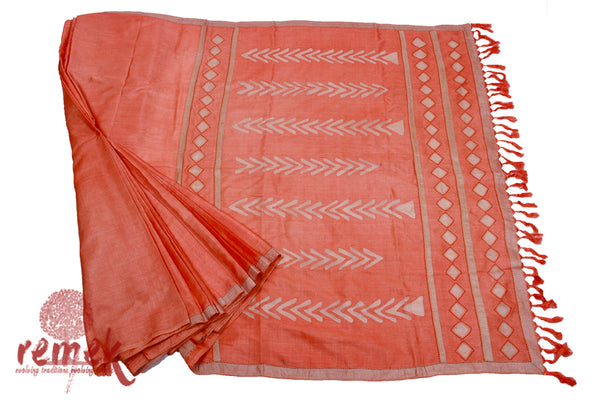 Handloom Silk Saree with Katwa Embroidery - Geometric Patterns