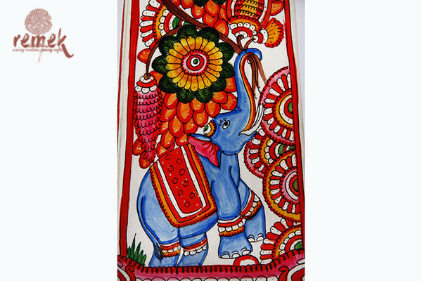 "Hand-painted ""Tholu Bommalata Art"" Table Lamp - Elephant"