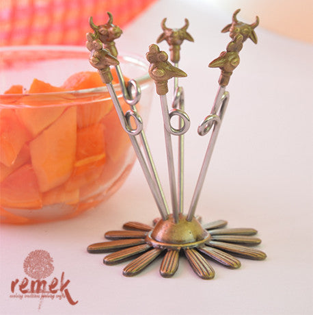 Handmade Dhokra Fruit Picks