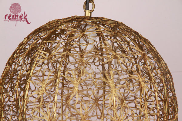 Moroccan Golden Flower Design Hanging Ball Lantern