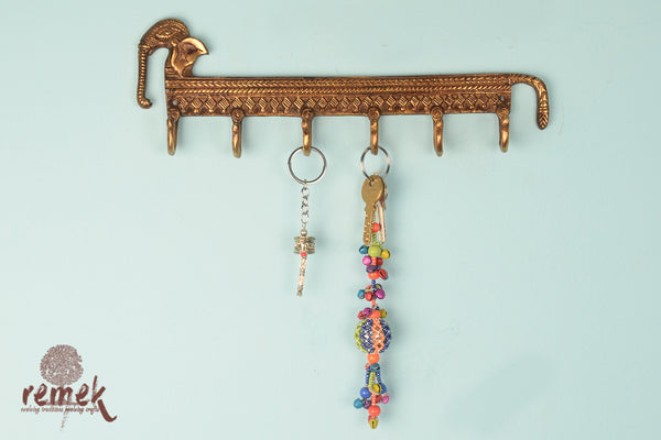 "Handcrafted Brass Key Hanger - ""Gaja"", the Powerful"