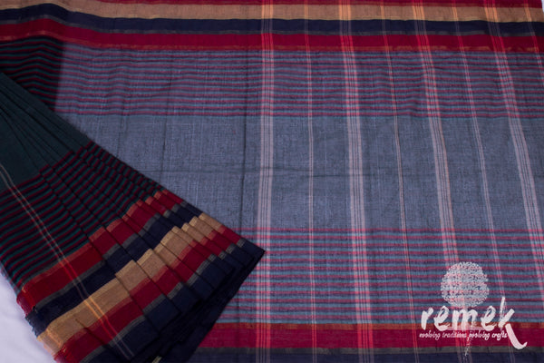 Cotton Tant Saree - Linear Pattern