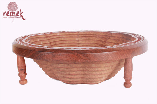Hand carved spiral fruit bowl