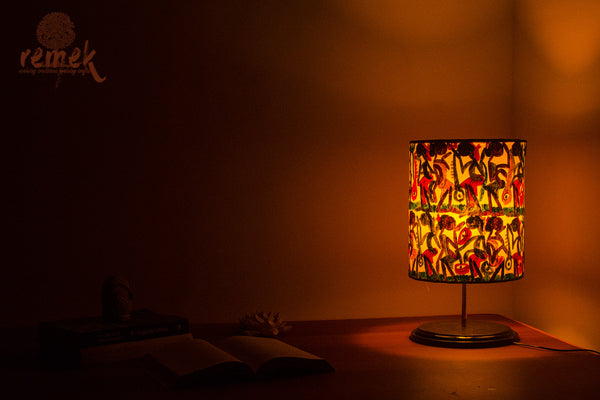 "Hand-painted ""Santhal Art"" Round Table Lamp - Celebration"