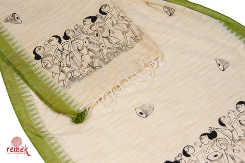 Hand-painted Santhal Art Dupatta - Tribal Celebrations