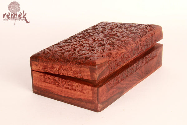 Handcarved Sheesham Jewellary box with Mughal design