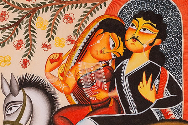 Kalighat Painting - Travelling Affectionate Couple