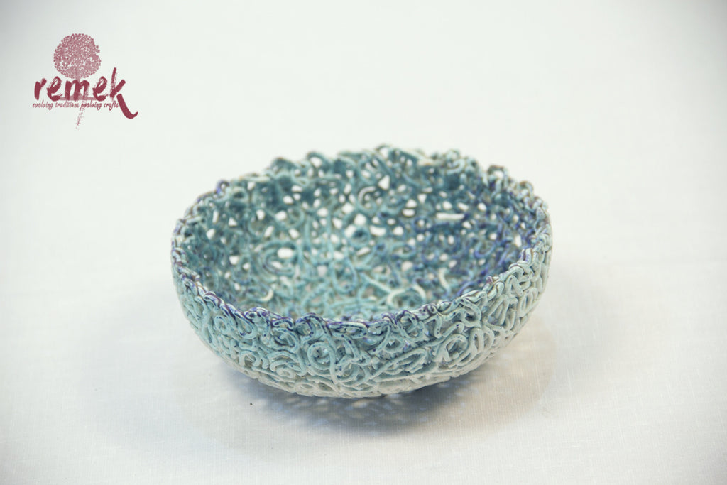 Glazed Ceramic - Large Threaded Bowl