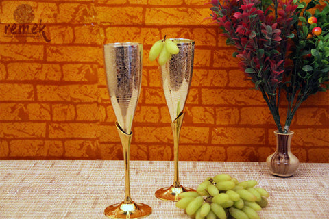 Brassware Art - A pair of Brass Champagne Glasses