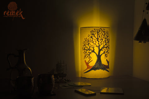 "Hand-painted ""Gond Art"" Lamp - Tree of Life"