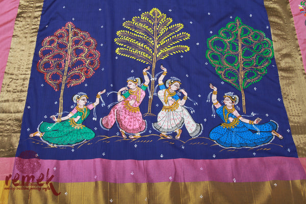 Hand-painted Saree with Pattachitra Art - Gopi Raas Leela