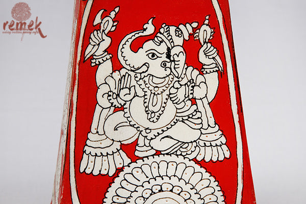 "Hand-painted ""Tholu Bommalata Art"" Table Lamp - Lord Ganesha"