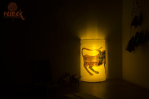 "Hand-painted ""Gond Art"" Lamp - Cow"