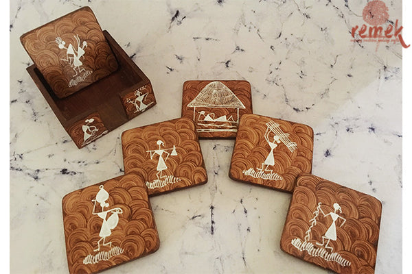 "Hand-painted ""Warli Art"" Coasters from Maharashtra"