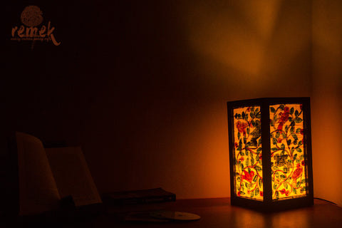 "Hand-painted ""Santhal Art"" Table Lamp - Nature"