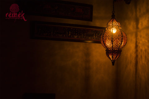 Moroccan Copper Jaali Design Hanging Chandelier