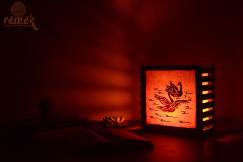 Handmade Table Lamp from Rice Strands - Swans