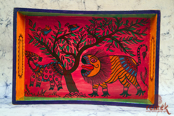 Hand-painted Madhubani Tray from Bihar