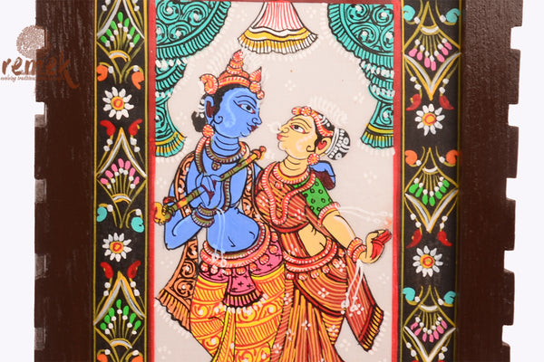 "Hand-painted ""Pattachitra Art"" Table Lamp - Krishna-Radha"