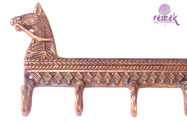 "Handcrafted Brass Key Hanger - ""Ashva"", the royal companion"