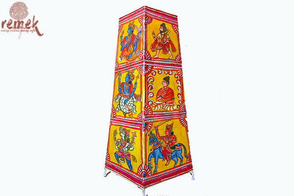 "Hand-painted ""Tholu Bommalata Art"" Floor Lamp - Dashavtaram"