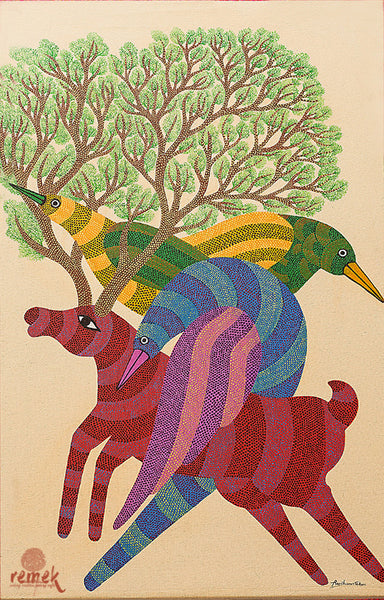 Gond Painting - Flora Fauna Convolution