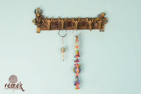 Handcrafted Brass Key Hanger - Tribal Life