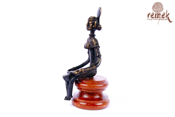 "Antique Dhokra Figurine - Folk Musician Playing ""Nagada"""