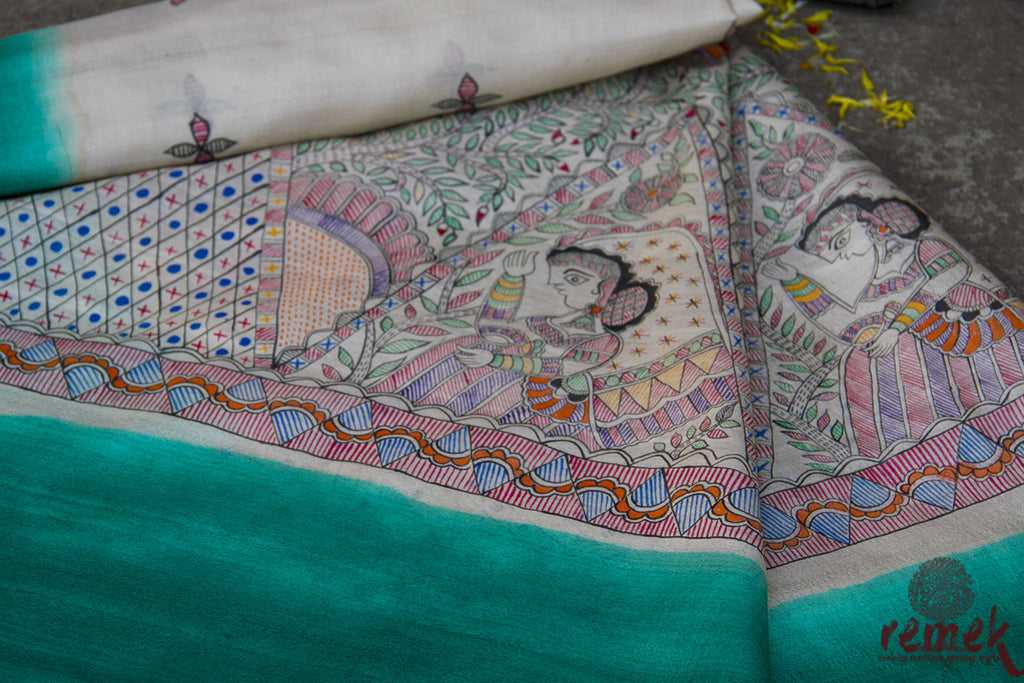 Hand-painted Madhubani Kosa Silk Dupatta - Bidaai of Bride