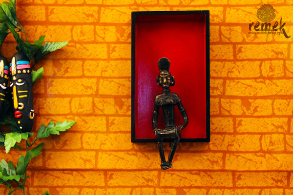 "Dhokra Wall Hanging - Folk Musician Playing ""Dholak"""