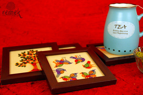 Hand-painted Gond Art Coasters - Elements of Nature