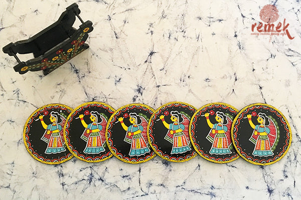"Hand-painted ""Tikuli Art"" Coasters from Bihar"
