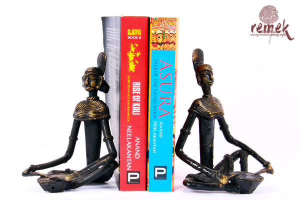 "Antique Dhokra Bookends - Folk Musician Playing ""Nagada"""