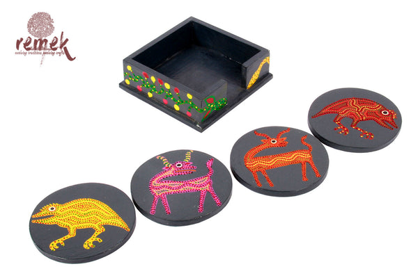 Hand-painted Bhil Art Coasters - Diverse animals