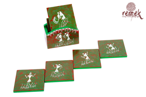 Hand-painted Warli Art Coasters - Tribal Dance