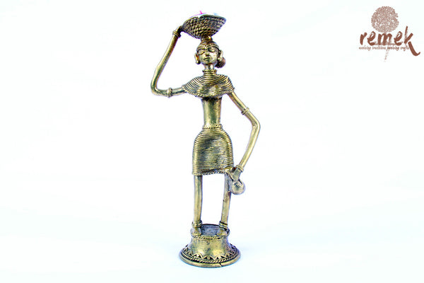 Unpolished Rustic Dhokra Tea Light Holder - Woman with head basket