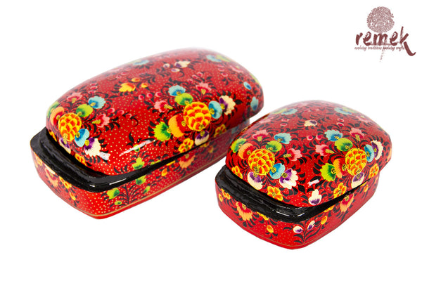 Pair of Hand-Painted Naquashi Boxes - Red Charm
