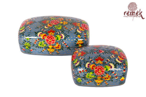 Pair of Hand-Painted Naquashi Boxes - Serene Blue