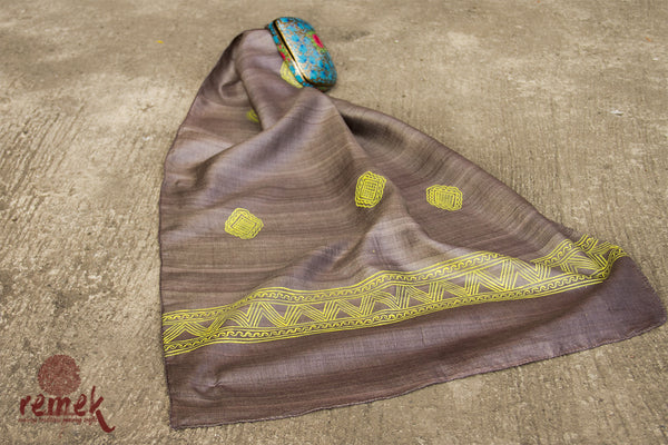 Hand-painted Manjusha Art Tassar Silk Stole - Abstract Art