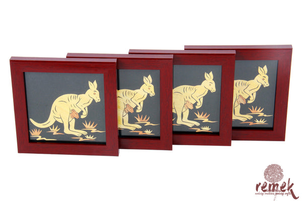 "Handmade ""Straw Craft"" Coasters - Kangaroo"