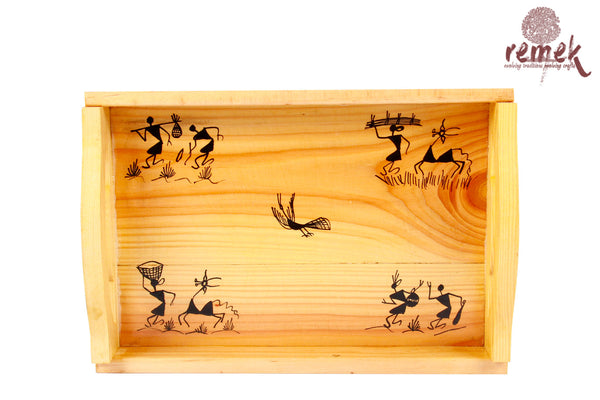 "Hand-painted ""Warli Art"" Tray - Tribe's Village"