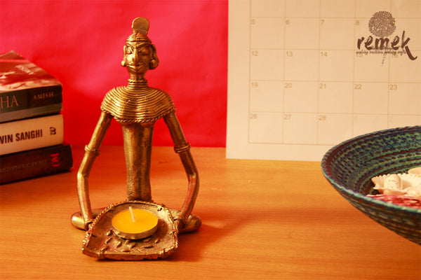 "Unpolished Rustic Dhokra Tea Light Holder - Woman carrying ""Soopa"""