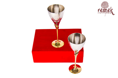 Brassware Art - A pair of Brass Wine Glasses