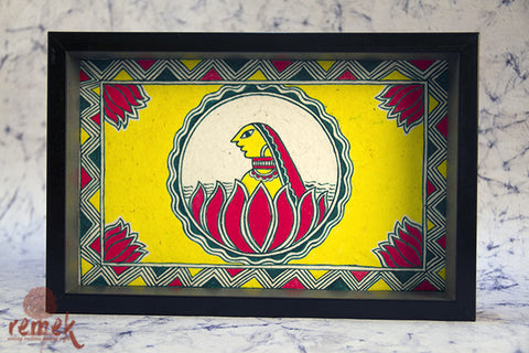 "Hand painted ""Manjusha Art"" Tray from Bihar"