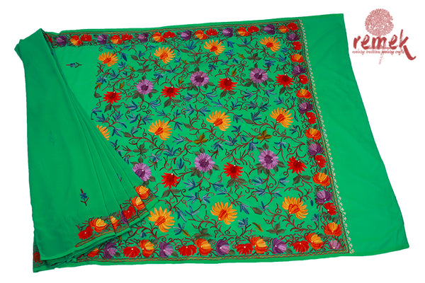 Kashida Embroidery Georgette Saree -Blooming Flowers